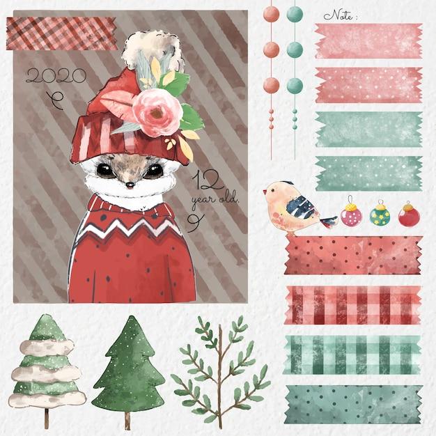 Conjunto de elementos de design de natal em estilo aquarela. Vetor Premium