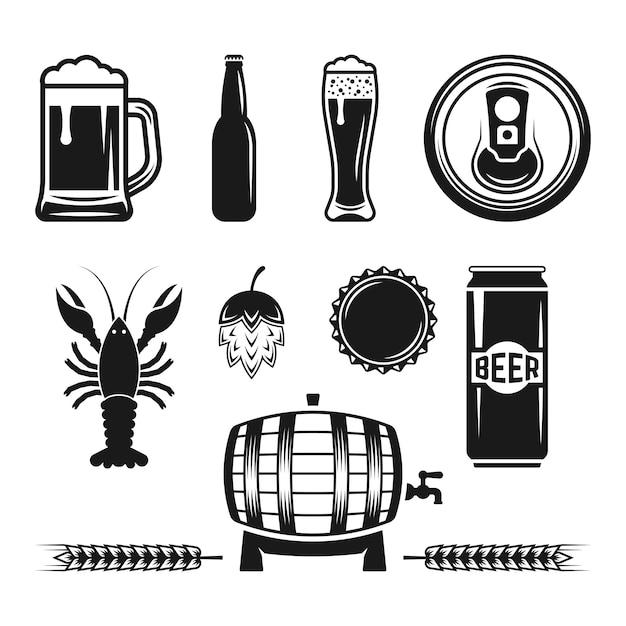 Conjunto de elementos de design monocromático de cerveja e cervejaria isolado no branco Vetor Premium