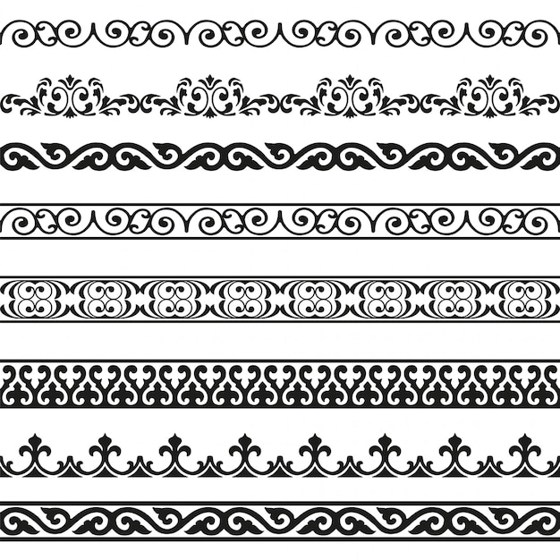 Conjunto de elementos de design vintage de fronteiras sem costura decorativa Vetor Premium
