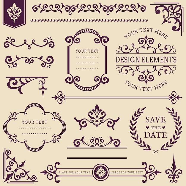 Conjunto de elementos de design vintage. Vetor Premium