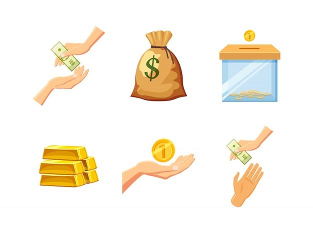 Conjunto de elementos de dinheiro. conjunto de desenhos animados de dinheiro Vetor Premium