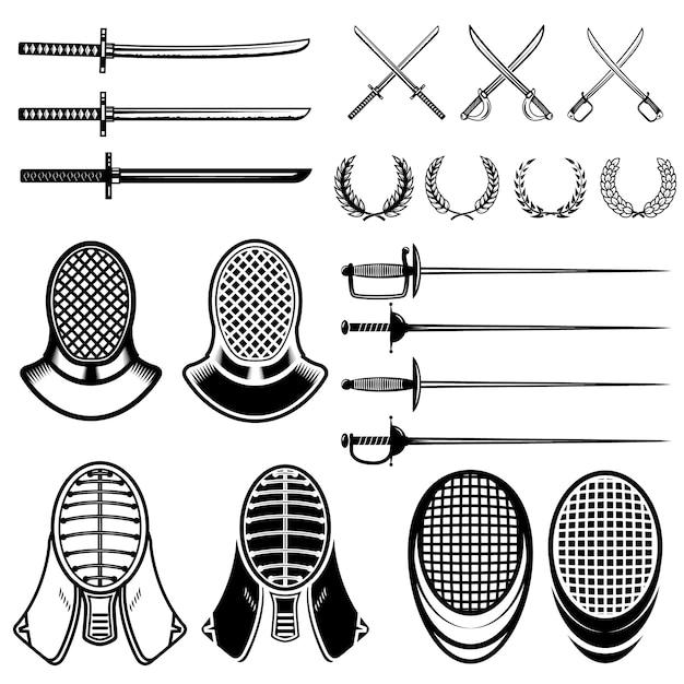 Conjunto de elementos de esgrima. esgrima espadas, máscaras, japão katana. ilustração Vetor Premium