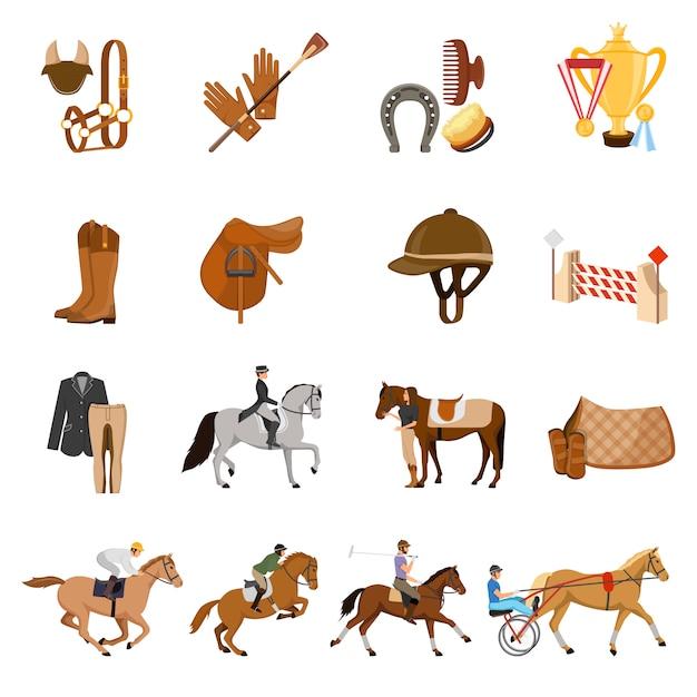 Conjunto de elementos de esporte equestre Vetor grátis
