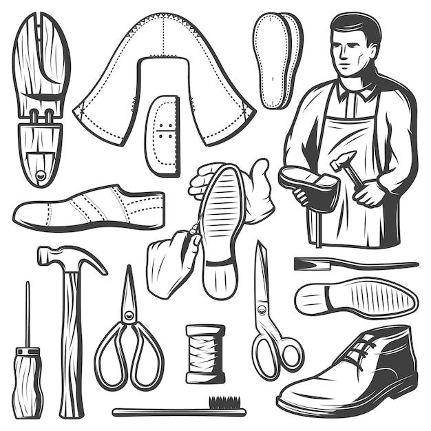 Conjunto de elementos de fabricação de calçados vintage com sapateiro reparos carretel de martelo de bota de tesoura de linha com furador pedaços de couro isolados Vetor grátis