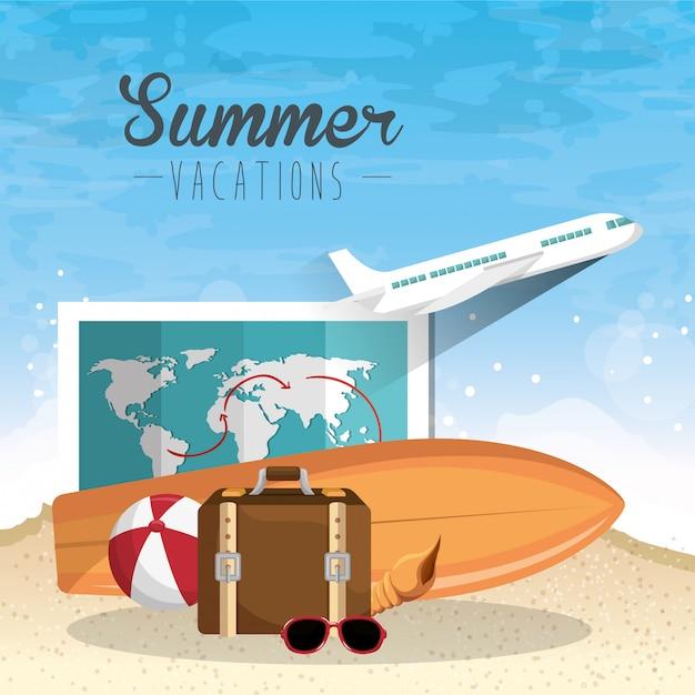 Conjunto de elementos de férias de verão Vetor grátis