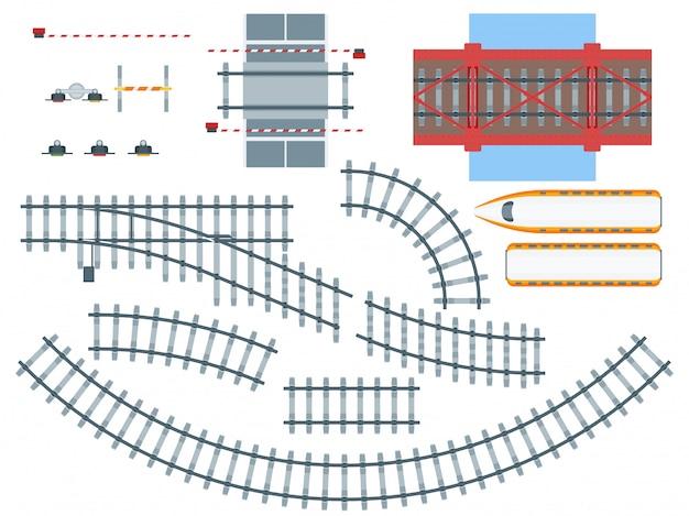 Conjunto de elementos de ferrovia plana Vetor grátis
