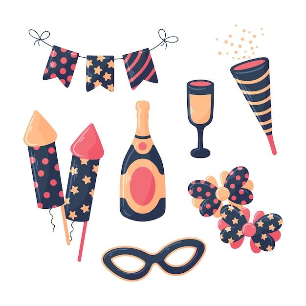 Conjunto de elementos de festa de ano novo de mão desenhada Vetor grátis