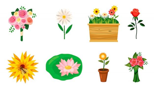 Conjunto de elementos de flor. conjunto de desenhos animados de flor Vetor Premium