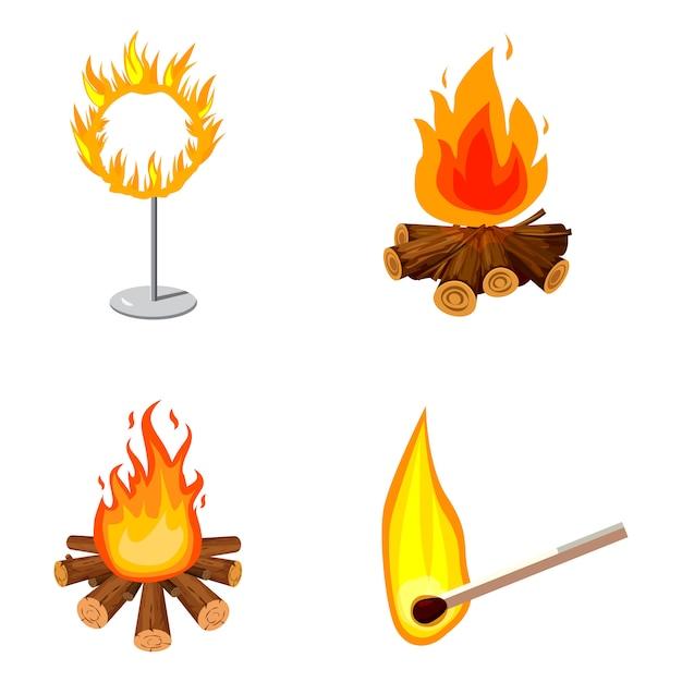 Conjunto de elementos de fogo. conjunto de desenhos animados de fogo Vetor Premium