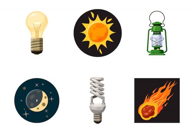 Conjunto de elementos de fonte de luz. conjunto de desenhos animados de fonte de luz Vetor Premium