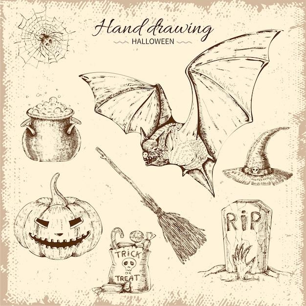 Conjunto de elementos de halloween desenhado à mão Vetor grátis