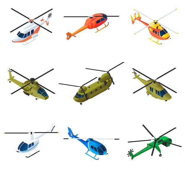 Conjunto de elementos de helicóptero, estilo isométrico Vetor Premium