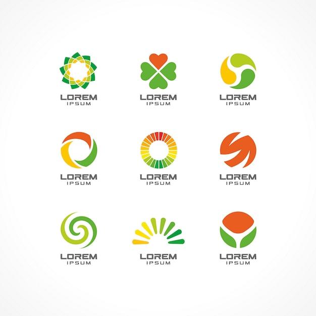Conjunto de elementos de ícone. idéias abstratas logotipo para empresa de negócios. eco, saúde, spa, cosméticos e conceitos médicos. pictogramas para o modelo de identidade corporativa. banco de ilustração Vetor Premium