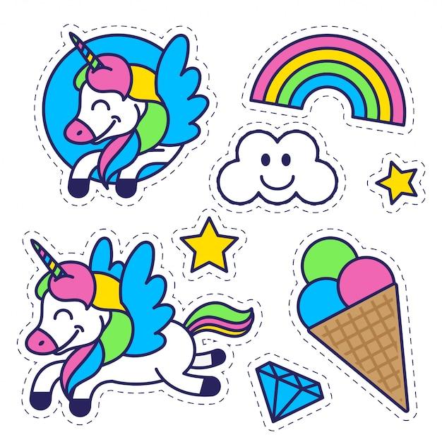 Conjunto de elementos de ícones no padrão de etiqueta para educação de crianças e inspiração com estrela de sorvete doce feliz fantasia unicórnio arco-íris colorido ilustração plana do personagem de desenho animado moderno design plano. Vetor Premium