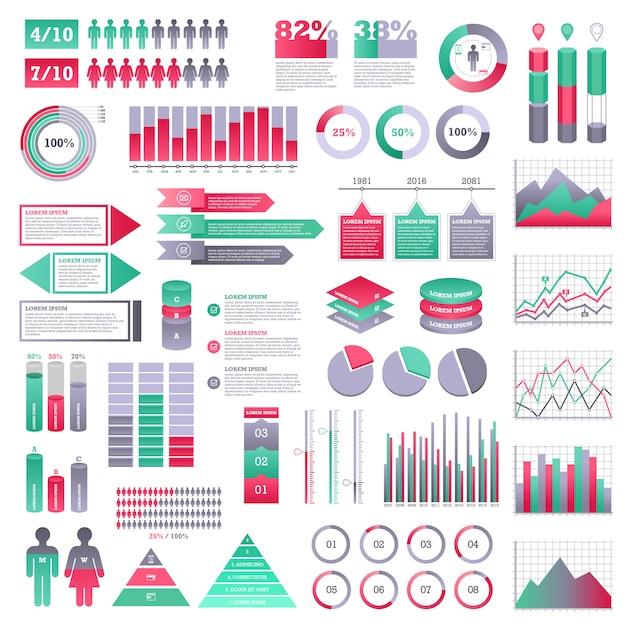 Conjunto de elementos de infografia Vetor Premium