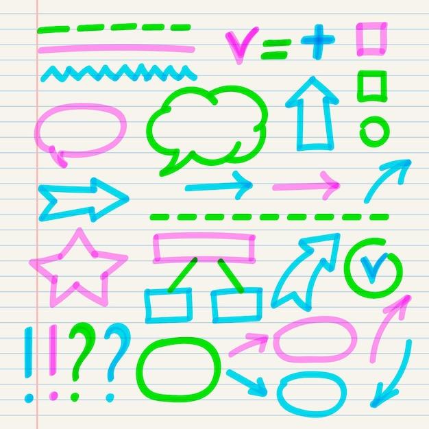 Conjunto de elementos de infográfico escolar com marcadores coloridos Vetor grátis