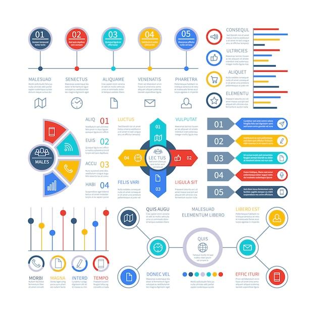 Conjunto de elementos de infográfico Vetor Premium