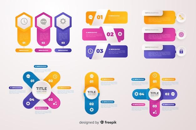 Conjunto de elementos de infográficos de negócios gradiente Vetor grátis