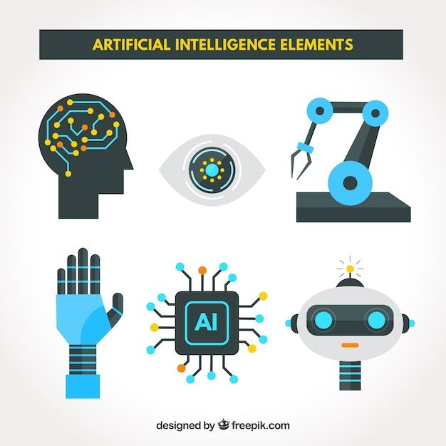 Conjunto de elementos de inteligência artificial em design plano Vetor grátis