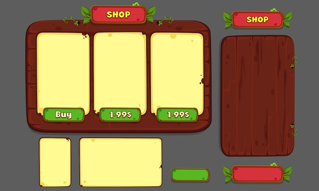 Conjunto de elementos de interface do usuário para jogos e aplicativos em 2d, parte 3 da interface do usuário do jogo Vetor Premium