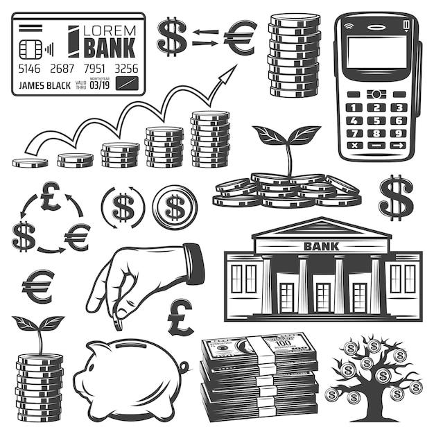Conjunto de elementos de investimento vintage com pilhas de notas bancárias, cartão de pagamento, moedas móveis, árvore do dinheiro, cofrinho isolado Vetor grátis