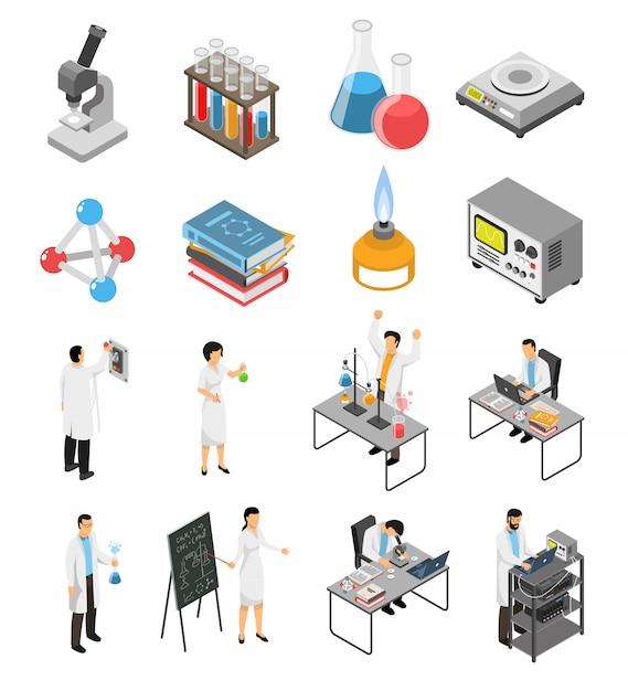 Conjunto de elementos de laboratório científico Vetor grátis