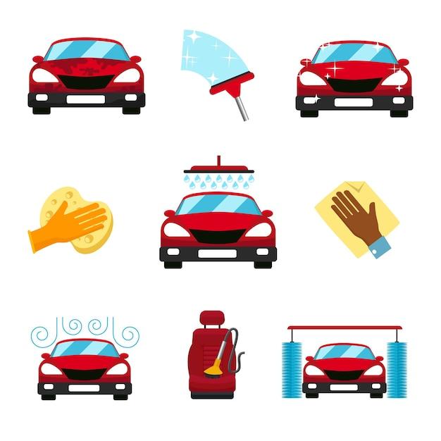 Conjunto de elementos de lavagem de carro Vetor grátis