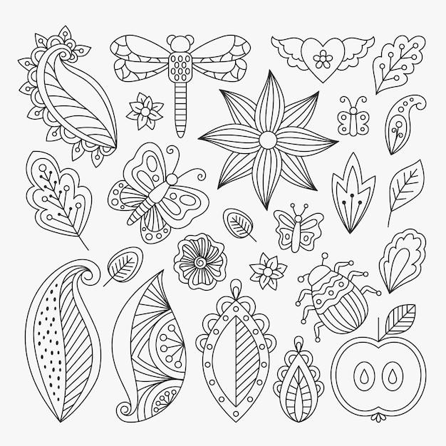 Conjunto de elementos de linha floral Vetor Premium