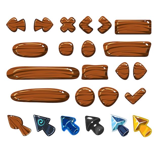 Conjunto de elementos de madeira web dos desenhos animados Vetor Premium