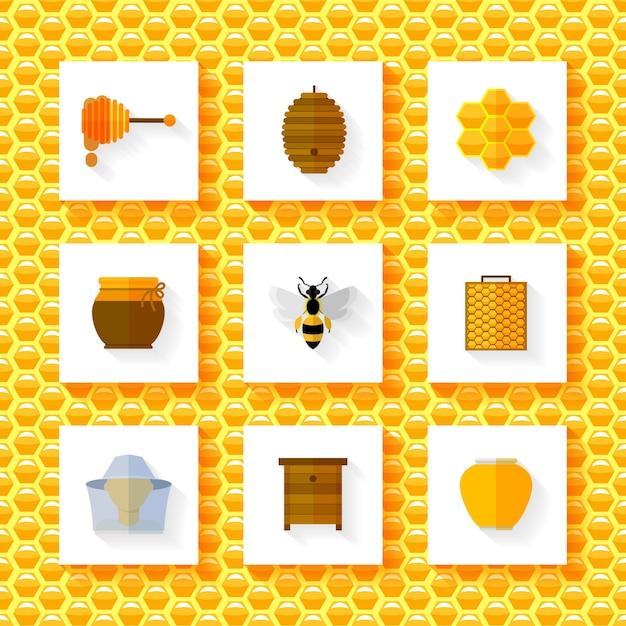 Conjunto de elementos de mel. Vetor grátis