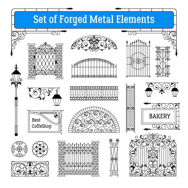 Conjunto de elementos de metal forjado Vetor grátis
