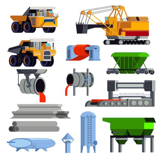Conjunto de elementos de metalurgia Vetor grátis