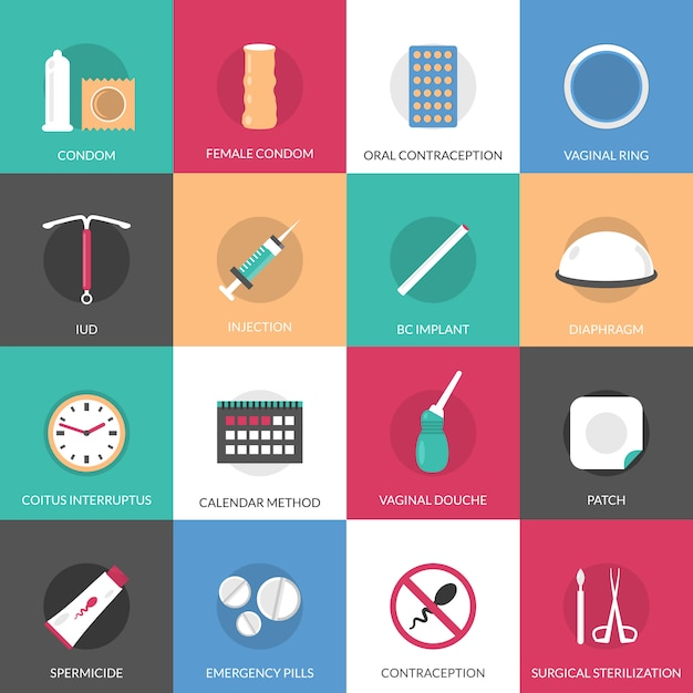 Conjunto de elementos de métodos de contracepção Vetor grátis