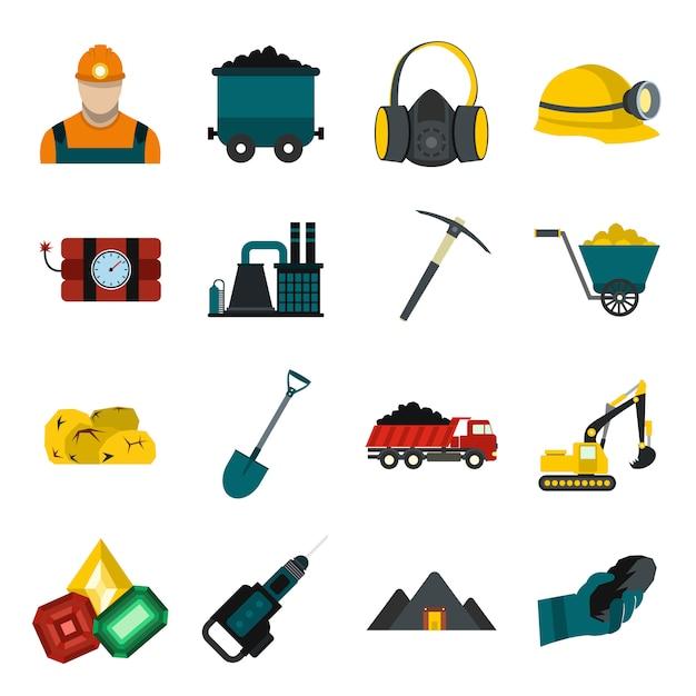 Conjunto de elementos de mineração plano com bulldozer de caminhão de martelo de mineiro Vetor Premium
