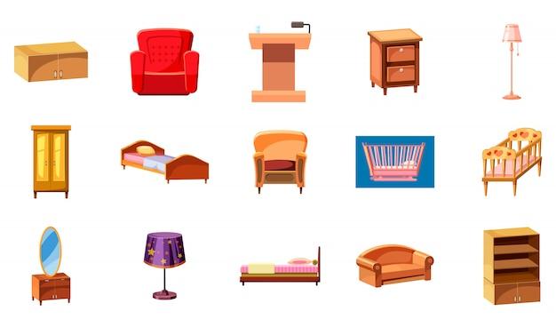 Conjunto de elementos de mobiliário. caricatura, jogo, de, mobília Vetor Premium