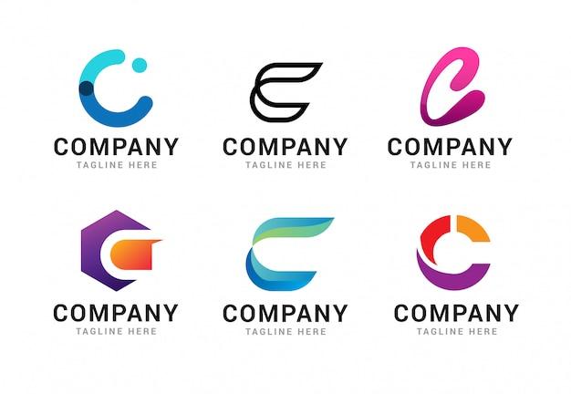 Conjunto de elementos de modelo de ícones de logotipo letra c Vetor Premium