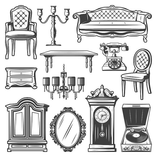 Conjunto de elementos de móveis vintage com cadeira sofá candelabro castiçal mesa de cabeceira espelho de mesa Vetor grátis
