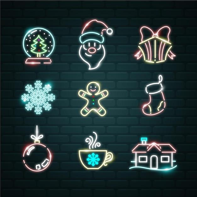 Conjunto de elementos de neon natal Vetor grátis