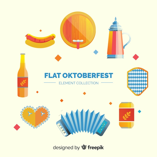 Conjunto de elementos de oktoberfest Vetor grátis