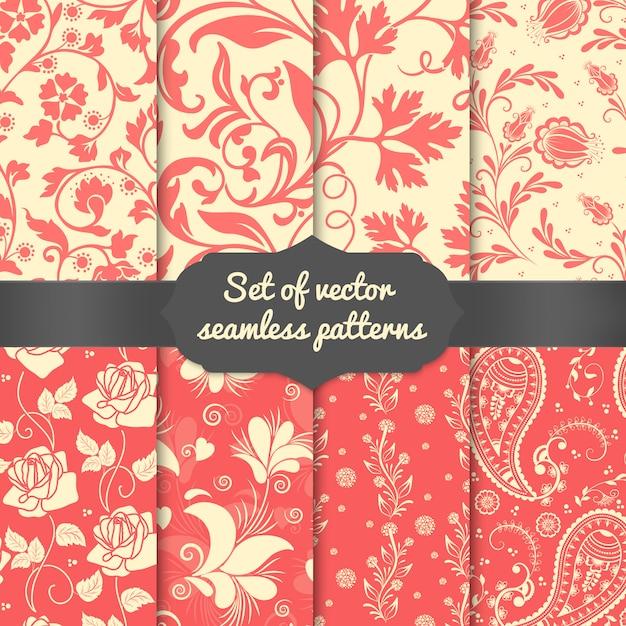 Conjunto de elementos de padrão sem emenda de flor. textura de luxo elegante para papéis de parede Vetor grátis