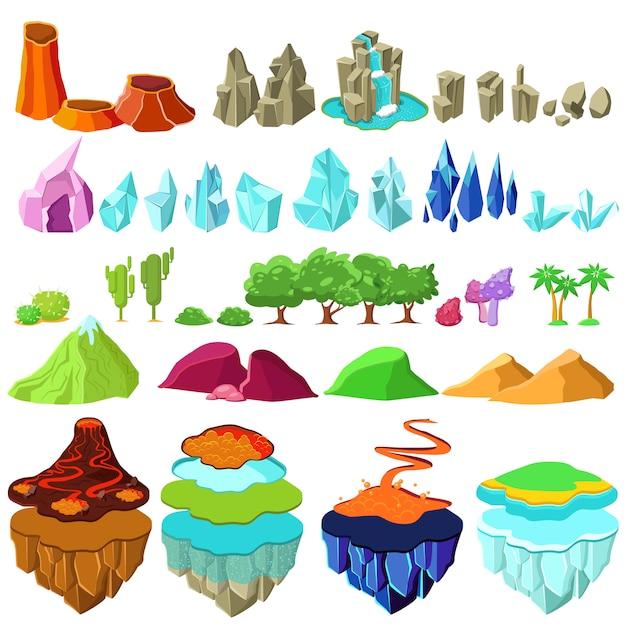 Conjunto de elementos de paisagem colorida das ilhas Vetor grátis