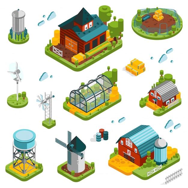 Conjunto de elementos de paisagem de fazenda Vetor grátis
