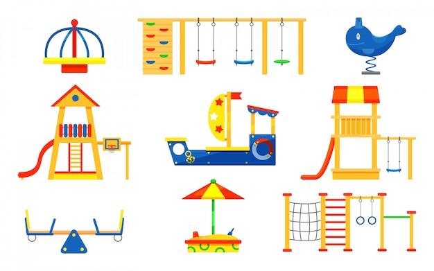 Conjunto de elementos de parque infantil. carrosséis, escorregadores, escadas, caixa de areia de madeira. equipamento lúdico para recreação de crianças ativas Vetor Premium