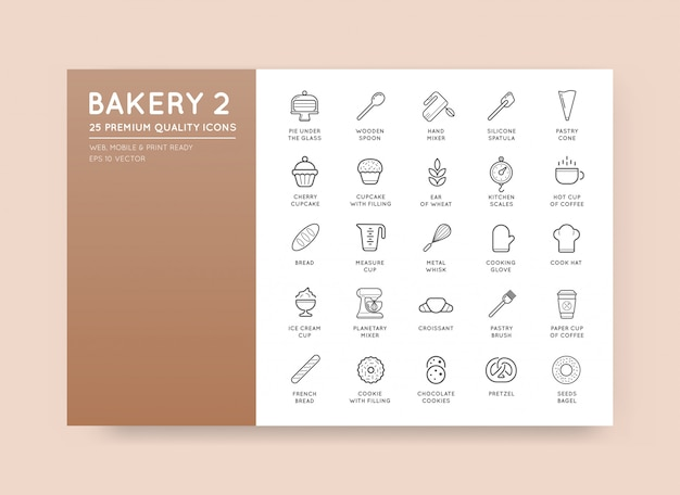 Conjunto de elementos de pastelaria de padaria de vetor e ilustração de ícones de pão pode ser usado como logotipo ou ícone em qualidade premium Vetor Premium