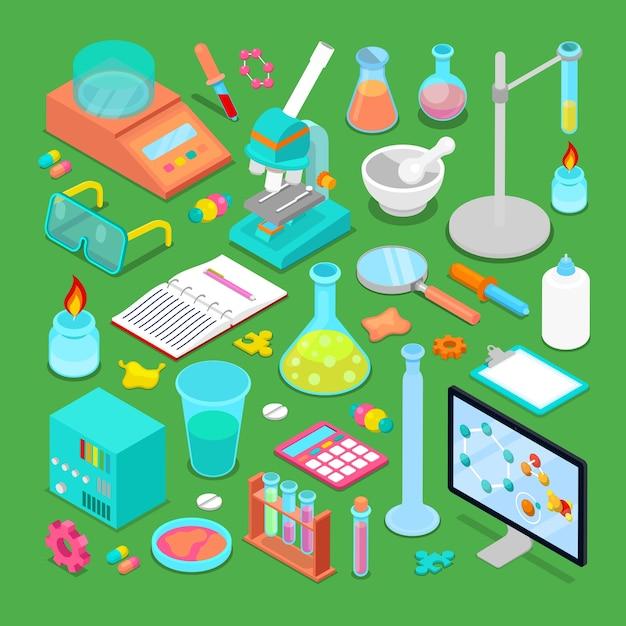 Conjunto de elementos de pesquisa química isométrica com átomo, escalas, química tóxica e microscópio. ilustração Vetor Premium