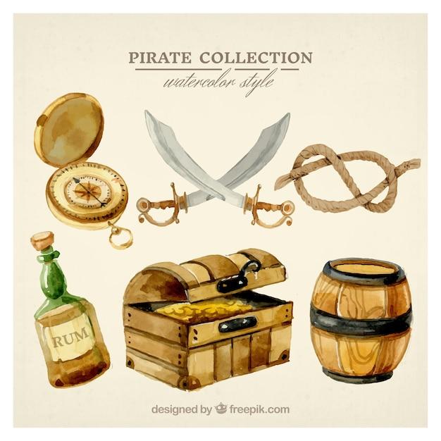 Conjunto de elementos de pirataria aquarela Vetor grátis