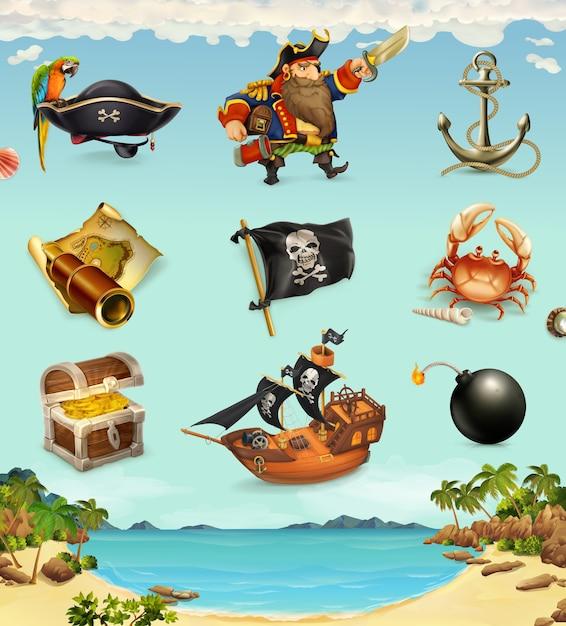Conjunto de elementos de piratas. Vetor Premium