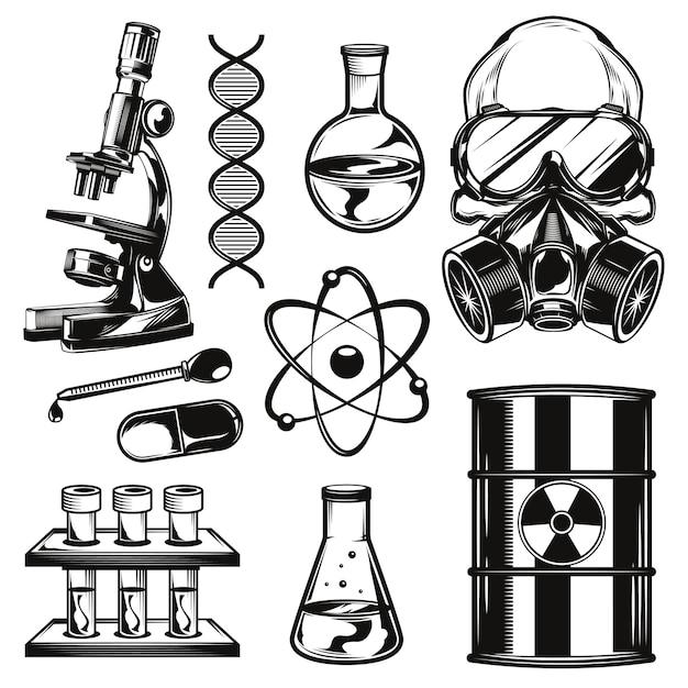 Conjunto de elementos de química Vetor grátis