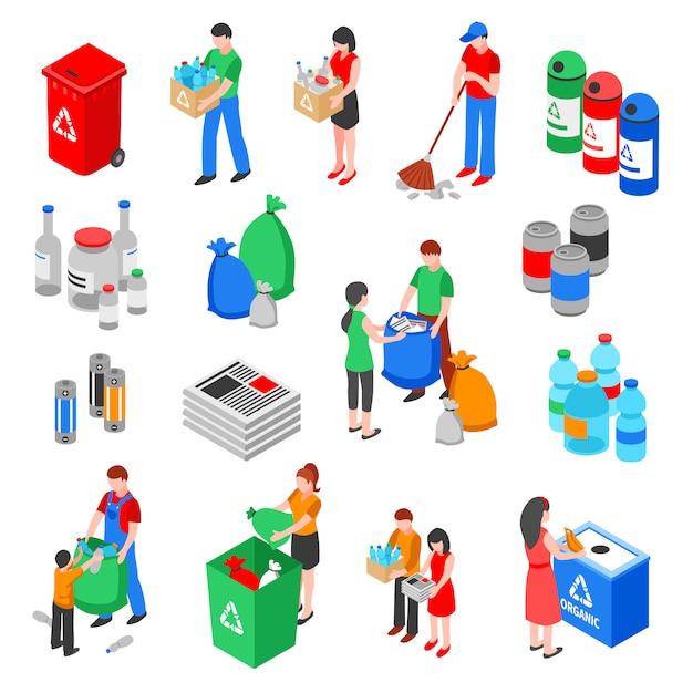 Conjunto de elementos de reciclagem de lixo Vetor grátis