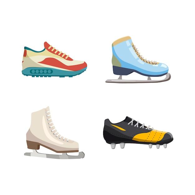 Conjunto de elementos de sapatos de desporto. conjunto de desenhos animados de sapatos de desporto Vetor Premium